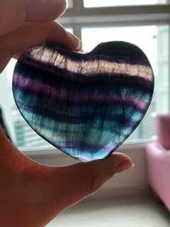 Polished Big Rainbow Flourite Heart 184g (FLH-22)