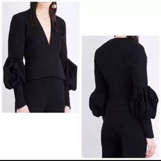 INSTOCK Designer Inspired puff sleeves Low plunge neckline blouse