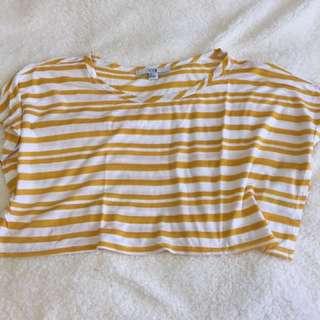 XXI Yellow & White Crop Top