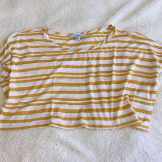 XXI Yellow & White Crop Top
