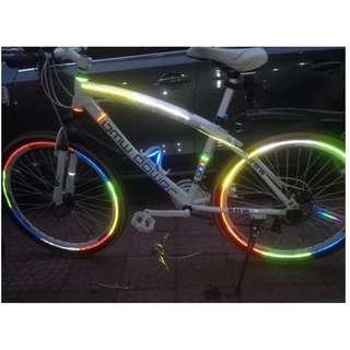 Bicycle Fluorescent Reflective Wheel Sticker Decal (1 pc)