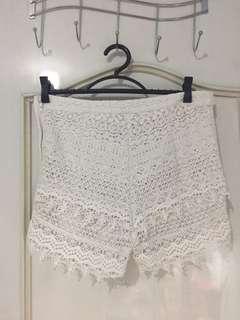 H&M White Lace Shorts