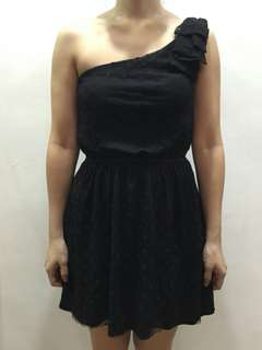 Zara TRF one shoulder polka dot lace dress