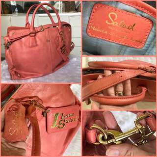 Salad All Leather 2 Way Document Bag Peach