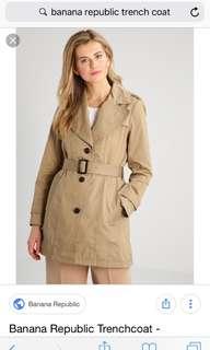 Banana republic khaki trench coat size 4
