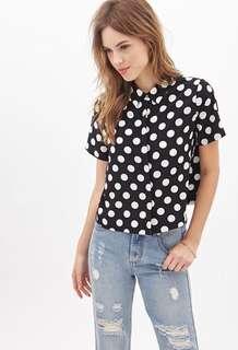 Forever 21 Black and white polka dot boxy shirt