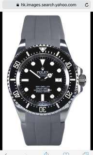 灰色Rubber B 錶帶 for Rolex Deepsea款