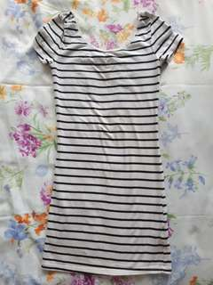 H&M B&W striped dress