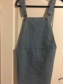 TWIK (Simmons) denim overall skirt