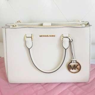 MK White Satchel Bag