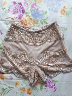 Ms Selfridge blush beaded shorts