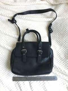 ZARA Black Saffiano satchel