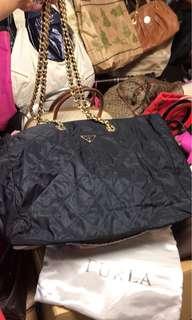 Prada Nylon Chain Shoulder Bag Navy Blue Gold Hardware