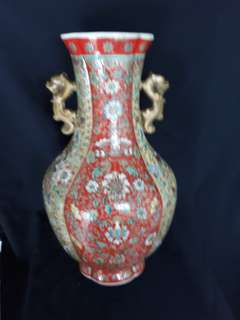 Qing dynasty Yong Zhen mark famille rose vase 38cm high.