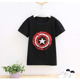 現貨 蜘蛛人+美國隊長兩面亮片童t-shirt