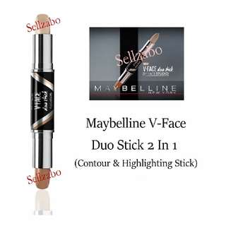 Highlight & Contour : Maybelline : Duo Stick : V Face : Medium Shade : Skin : Makeup : Cosmetics : Beauty : Tone : Contouring : Colour : Facial : Slim : Slimming : Shape : Contouring : Sellzabo