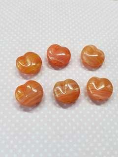 Peach shaped Czech glass beads