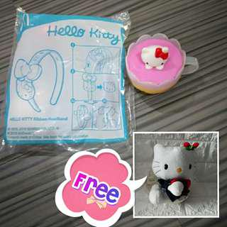 🚚 Bundle♥ Hello Kitty hairband + cup + soft toy (free)
