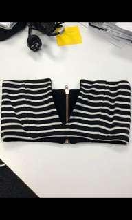 Nookie Rubix VFront Bustier black and white stripe - Size 6