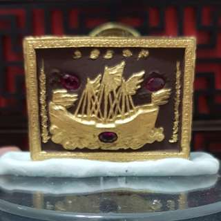Sampao 一帆风顺 behind with Real Ruby and many Gems (size 5.2cm by 3.8cm)  Strongly Blessed and Gold Ink Yant by Kruba Krissanna  Temple : Wat Arsom BE : 2561 Powerful on Wealth Fetching and Everything Smooth Smooth
