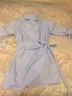 Korean Long-Sleeved Striped Dress