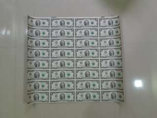 Uncut United States $2 x32 currency banknotes