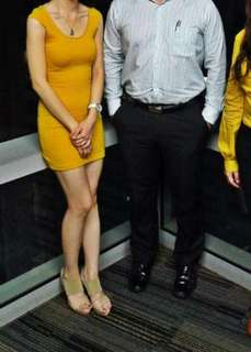 H&M fitted mustard dress