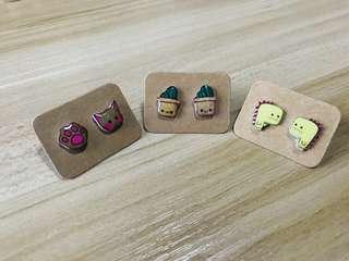 DIY Resin Glazed Assorted Cute Plastic Ear Stud