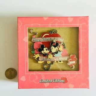 美國迪士尼 Disney 情人節 2008 米奇米妮 Mickey & Minnie Jumbo 珍寶 限量 LE 500 pin 襟章 徽章