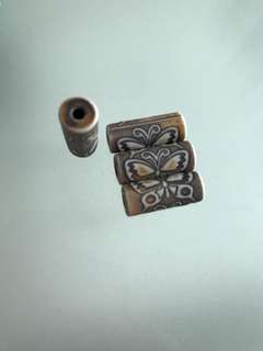 BN Porcelain Butterfly Tube Beads