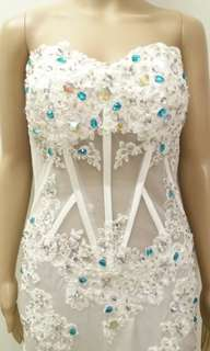 Wedding gown with blue Diamond sexy lace