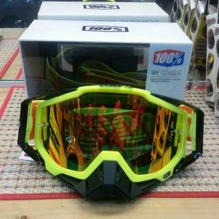 Goggles ( 100 % MX goggles )The RACECRAFT GOGGLE Attack Yellow - Mirror Red Lens