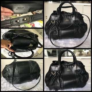 Bally All Leather 2 Way Bag Black