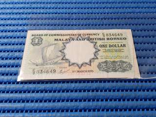 1959 Board of Commissioners of Currency Malaya and British Borneo $1 One Dollar C/3 834649 Dollar Banknote Currency