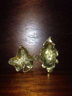 Vintage Brass Leaf Plate from England set of 2