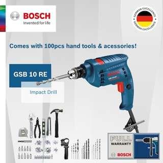 [Free Reg Mail] Bosch GSB 10 RE Impact Drill (100 Piece Value Kit). 500W Motor