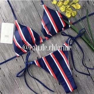 Atlanta Blue Red Stripes Bikini Two Piece Swimsuit