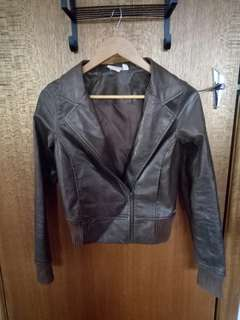 Brown leather jacket size 8