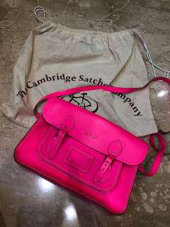"Cambridge satchel with initial ""R.E.C"""