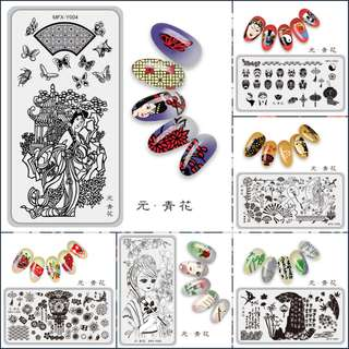 Rectangle Stamp Plate Beauty Girl Butterfly  Nail Art Tmeplate Manicure Nail Stamping Image Plate