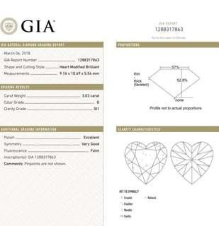 GIA 鑽石 Heart 3.03 G SI1 EX VG FNT