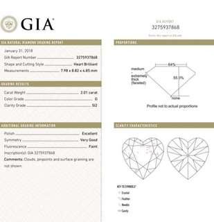 GIA 鑽石 Heart. 2.01 G SI2 EX VG FNT