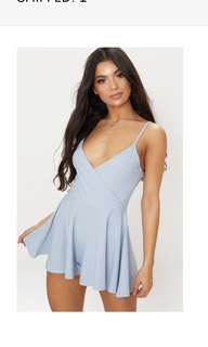Blue crepe strappy playsuit pretty little thing