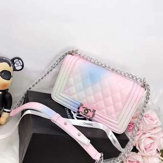 25cm authentic grade Coco Chanel Rainbow Leboy bag