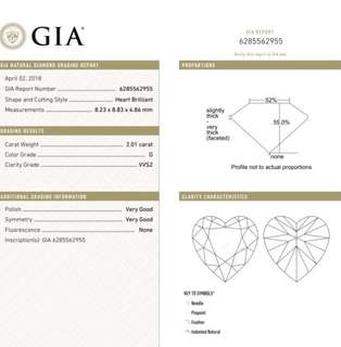 GIA 鑽石 Heart 2.01 G VVS2 VG VG N