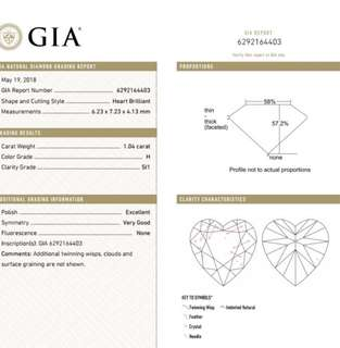GIA 鑽石 Heart 1.04 H SI1 EX VG N