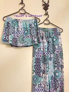NEW! Printed Two-piece Jumpsuit (Mint Green/Purple/Black/White Color Prints)