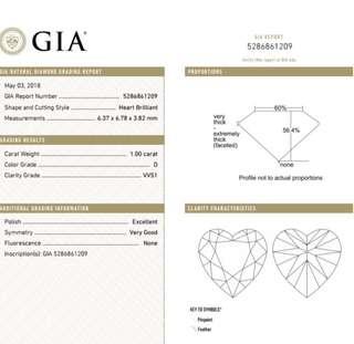 GIA 鑽石 Heart 1.00 D VVS1 EX VG N