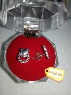 TWINSILVER heart w/ chain earings