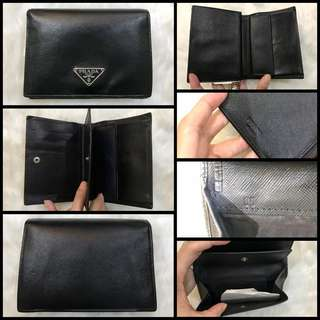 Prada Saffiano Bi Fold Short Wallet with Coin Purse Black